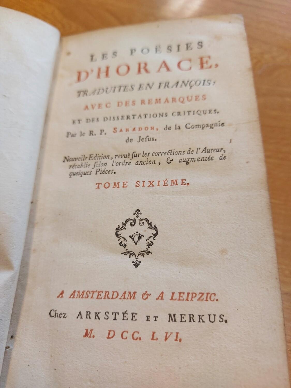 Livre poesies d'Horace 1756