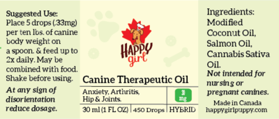 Canine Therapeutic Oil