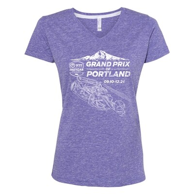 Grand Prix of Portland Ladies V-neck Tee-Purple