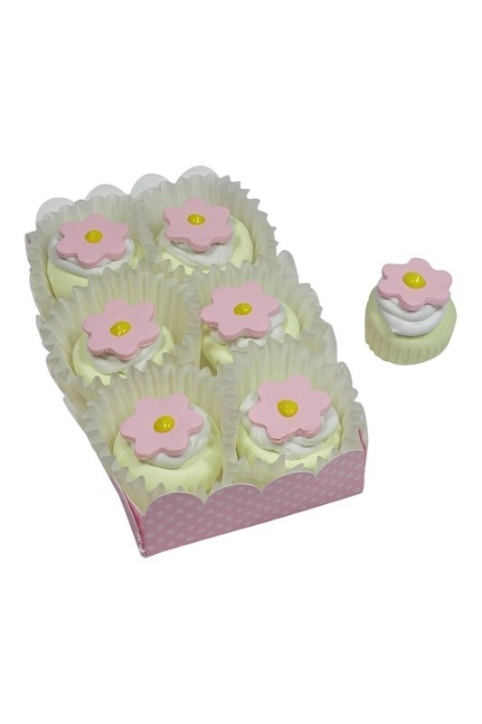 Doll Cupcakes White with Pink Flower