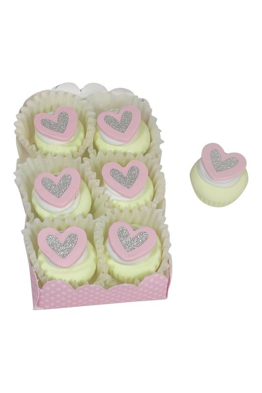 Doll Cupcakes White with Pink and Silver Heart