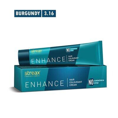 Streax Professional Enhancehair Colourant Cream -90G Burgundy 3.16