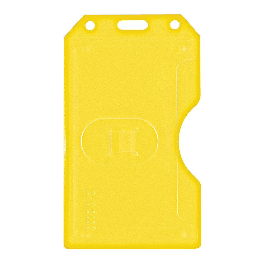 Porta Carnet plástico rígido amarillo multi-Tarjeta Vertical
