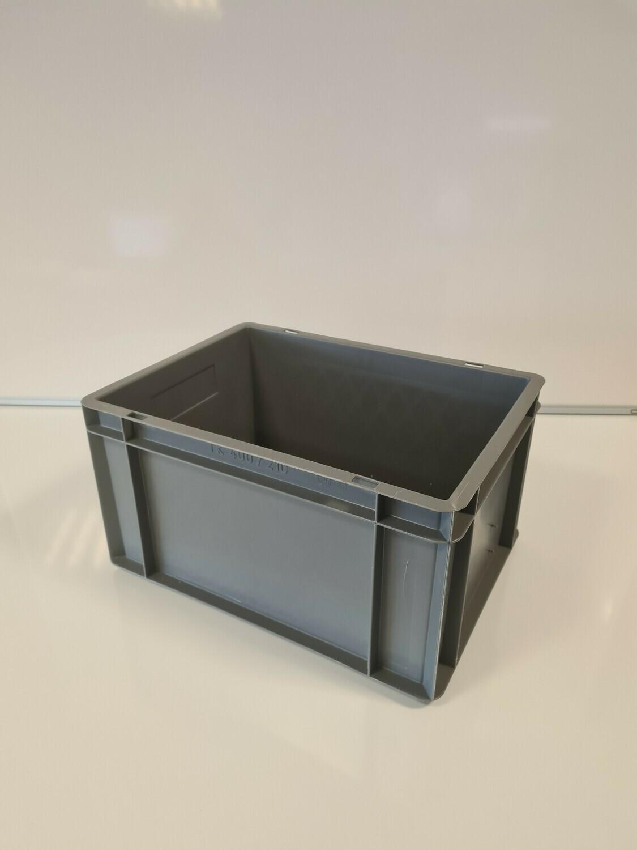40x30x21 kunststof bak, donker grijs, PP, gesloten, vlakke bodem, gebruikt