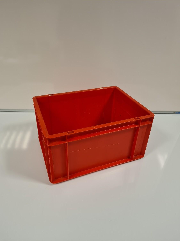40x30x21 kunststof bak, rood, PP, gesloten, vlakke bodem, gebruikt