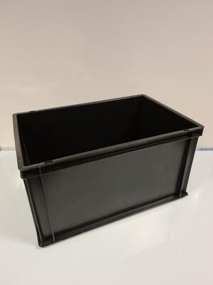 60x40x32 kunststof bak, zwart, PP, gesloten, verstevigde bodem, zgan