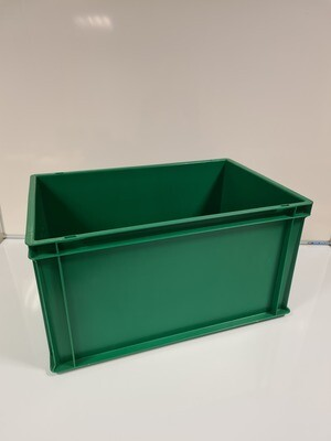 60x40x32 kunststof bak, groen, PP, gesloten, verstevigde bodem, zgan