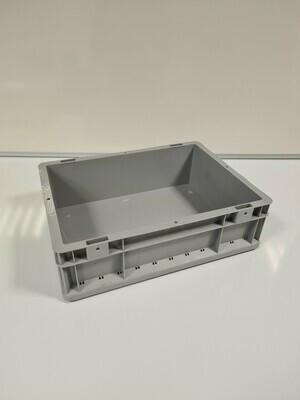 40x30x12 kunststof bak, grijs, PP, gesloten, kruizinga, licht gebruikt