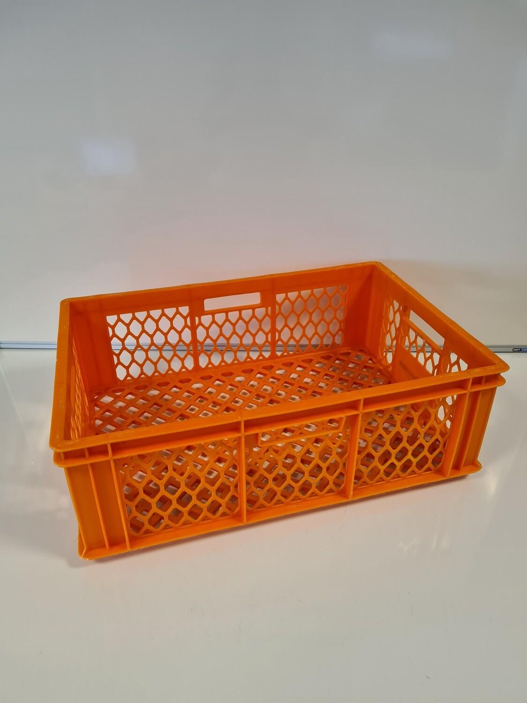 60x40x14 kunststof krat, oranje, PP, geperforeerd, gebruikt