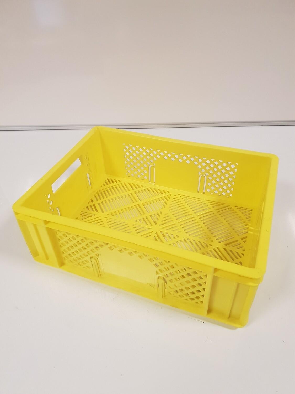 40x30x14 kunststof krat, geel, PP, geperforeerd, licht gebruikt, schoon