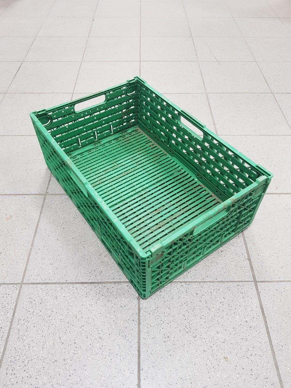 60x40x20 Kunststof klapkrat, groen, PP, geperforeerd, gebruikt