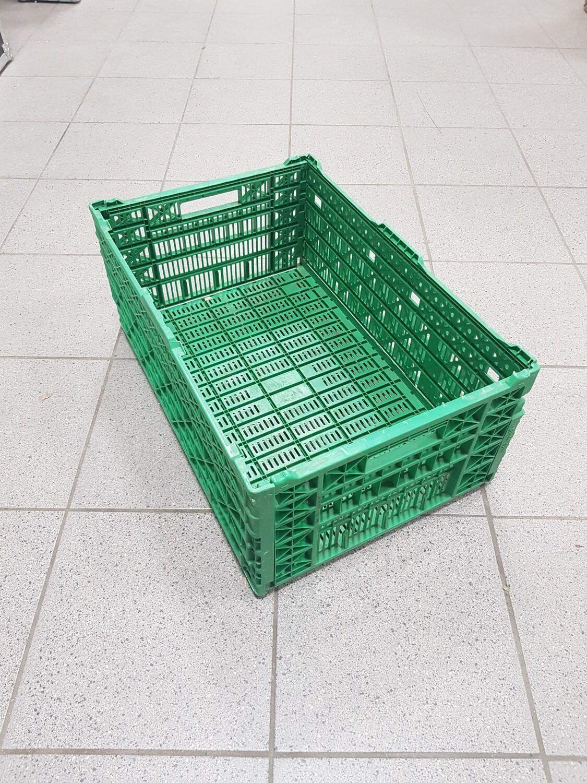 60x40x23 Kunststof klapkrat, groen, PP, geperforeerd, gebruikt
