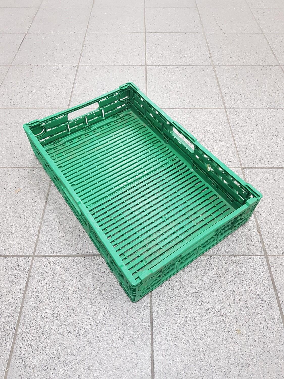 60x40x10 Kunststof klapkrat, groen, PP, geperforeerd, gebruikt