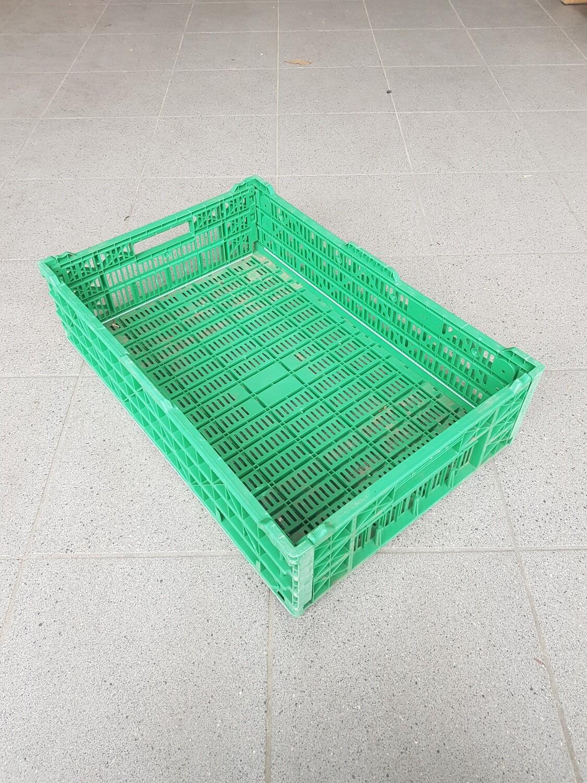 60x40x13 Kunststof klapkrat, groen, PP, geperforeerd, gebruikt