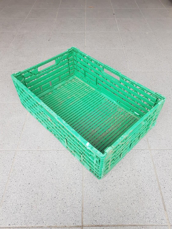60x40x18 Kunststof klapkrat, groen, PP, geperforeerd, gebruikt