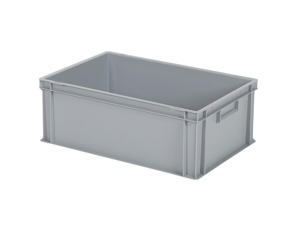 60x40x22 kunststof bak, grijs, PP, gesloten, vlakke bodem, nieuw
