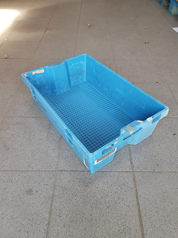 60x40x16 kunststof nestbare stapelbak, blauw, PP, gesloten, gebruikt