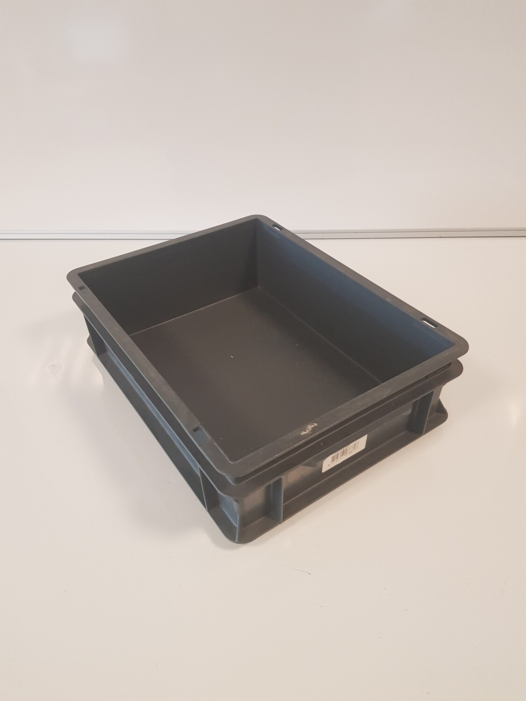 40x30x12 kunststof bak, zwart, PP, gesloten, Rako, gebruikt