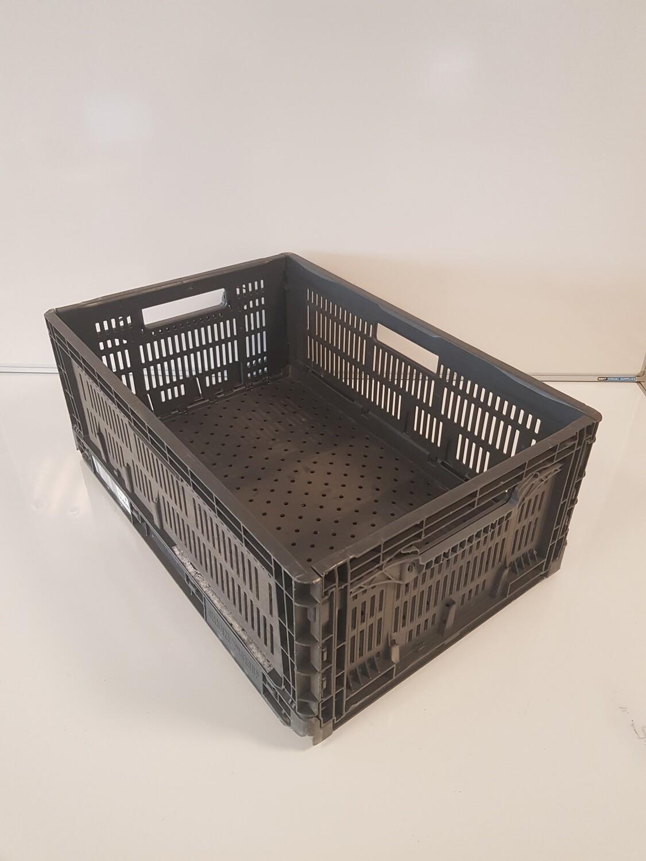 60x40x24 Kunststof klapkrat, zwart, PP, geperforeerd, gebruikt