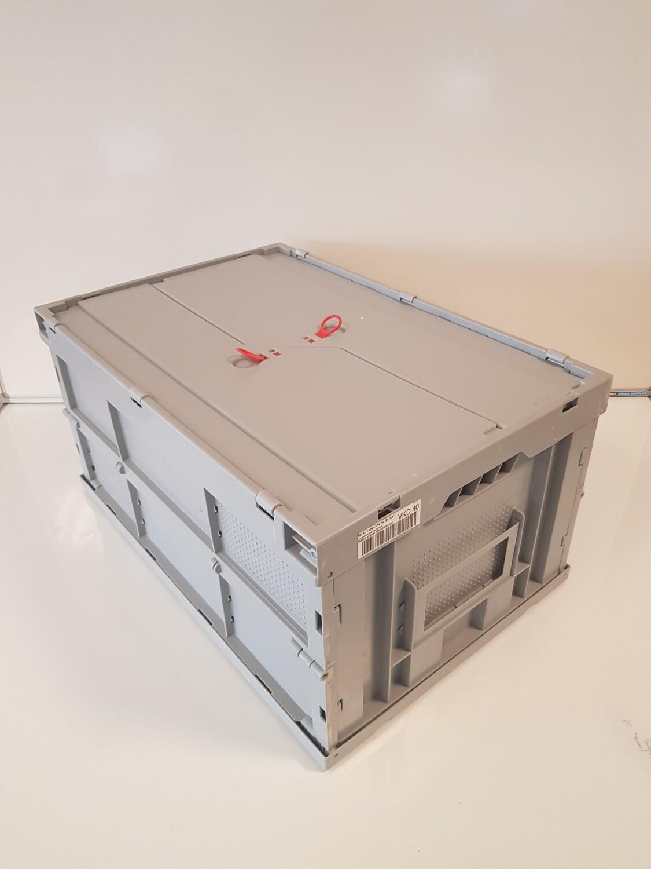 60x40x30 kunststof klapkrat, grijs, PP, licht gebruikt