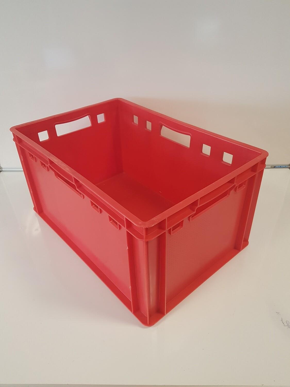 60x40x30 kunststof bak, rood, PP, gesloten, vlakke bodem, gebruikt