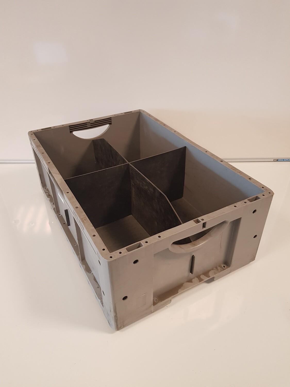 60x40x22 kunststof bak, grijs, PP, gesloten, gebruikt