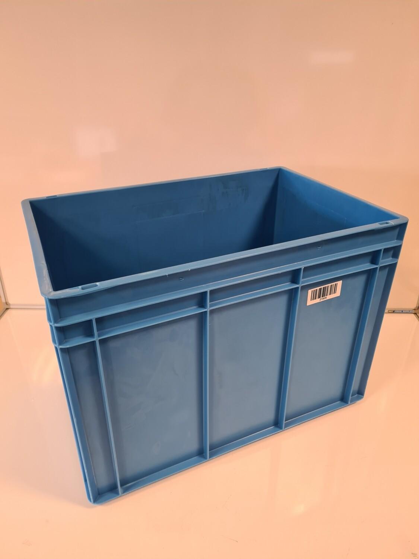 60x40x42,5 kunststof bak, blauw, PP, gesloten, vlakke bodem, gebruikt