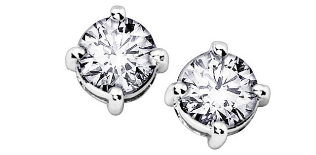 14KT W/G DIAMOND EARRINGS