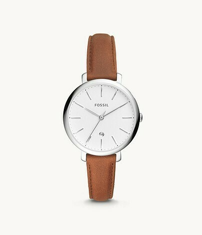 LDS S/C WHITE DIAL FOSSIL WATCH