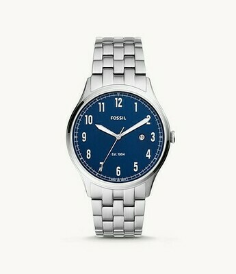 GNTS FOSSIL SILVER WATCH W/BLUE FACE