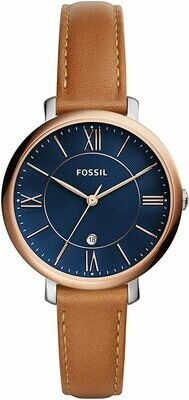 FOSSIL LDS WATCH BLUE FACE W/ROSE TONE