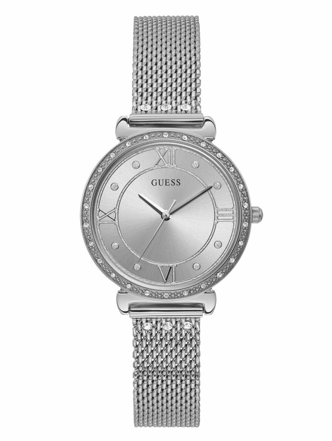 GUESS LDS WATCH SILVER FACE/STRAP