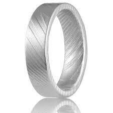 DAMASCUS STEEL GREY 6MM WIDE FROSTED