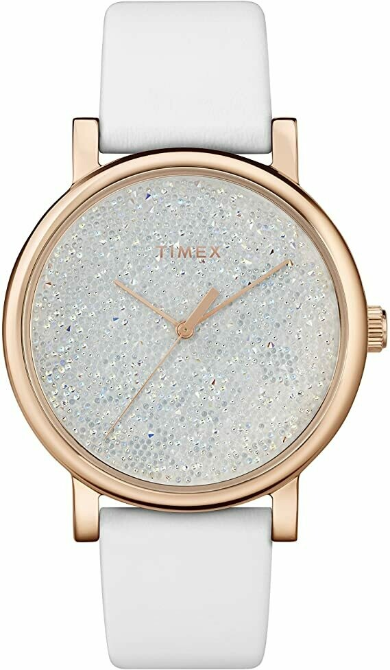 LDS WHITE CRYSTAL TIMEX WATCH