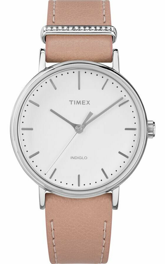 LDS WHITE FACE TIMEX WATCH W/ CRYSTAL BAR