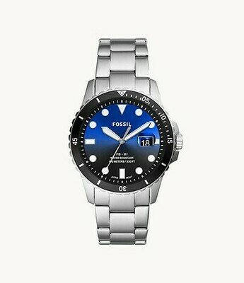 GTS BLUE FACE STAINLEWSS FOSSIL WATCH