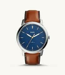 GENTS BROWN LEATHER BLUE FACE /WHITE AND GOLD DIAL