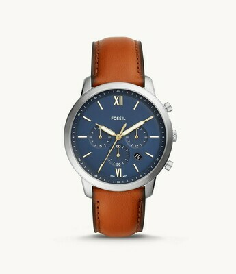 GENTS BROWN LEATHER  BLUE FACE SILVER AND WHITE DIAL