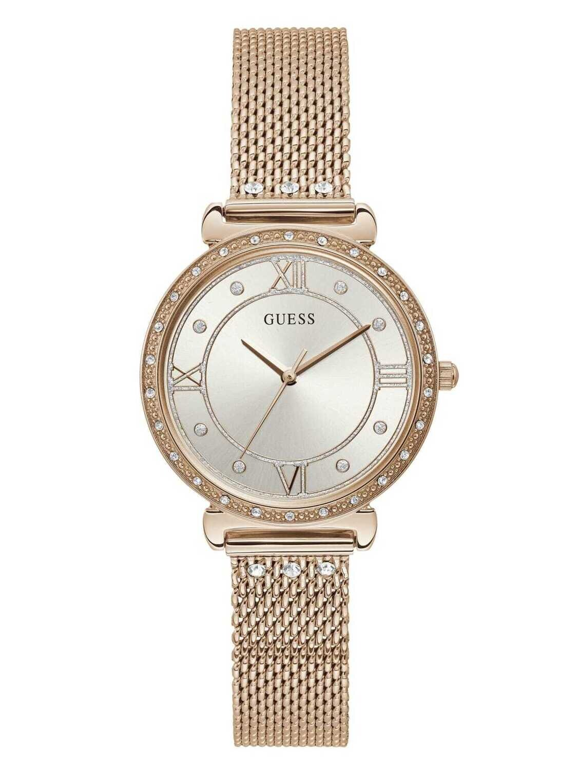 GUESS LDS WATCH WHITE DIAL/ROSE TONE STRAP