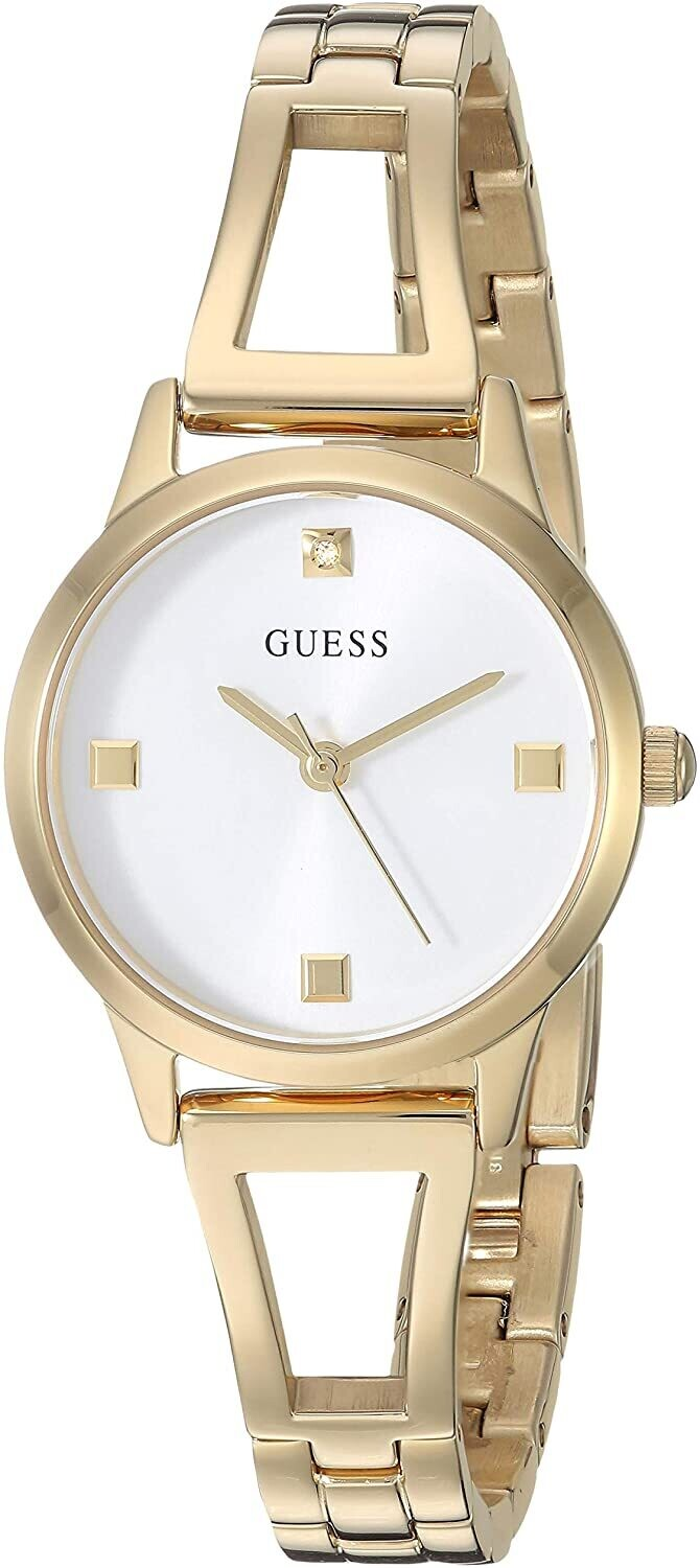 GUESS LDS WATCH W/WHITE DIAL/GLD STRAP