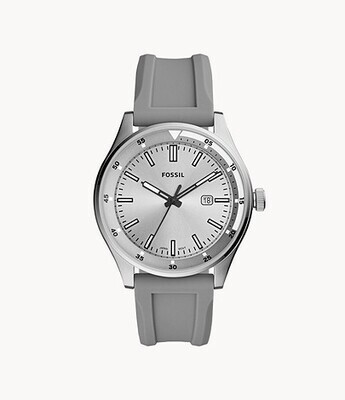 GNTS FOSSIL WATCH SIL' GREY BAND SILVER FACE