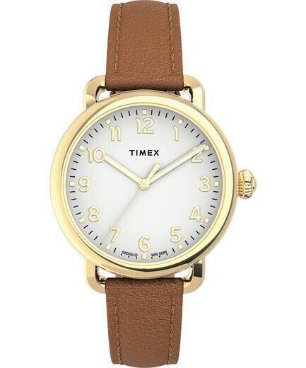 LDS TIMEX GOLD TONE WATCH W/WHITE FACE
