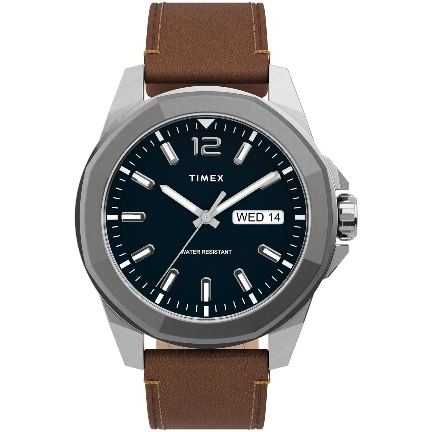 GNTS TIMEX WATCH SILVER TONE W/BLUE FACE