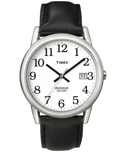 GTS WHITE DIAL BLK NUMBERS TIMEX WATCH