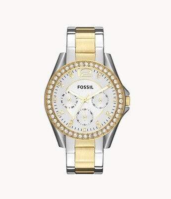 FOSSIL LDS.TWO TONE CRYSTAL BEZEL