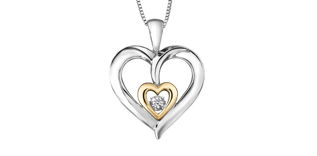 STER. 10KT YG DIA PENDANT PULSE BRING LOVE TO LIFE