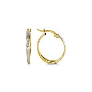 10K YELLOW AND WHITE GOLD HOOP EARRINGS