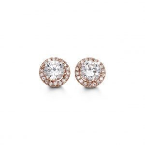 10 KT RG ROUND HALO CZ EARRINGS