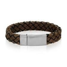 STAINLESS BROWN LEATHER STEEL CLASP BRACELET