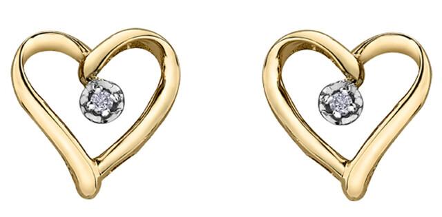 10K YG SOLITAIRE DIAMOND HEART EARRINGS